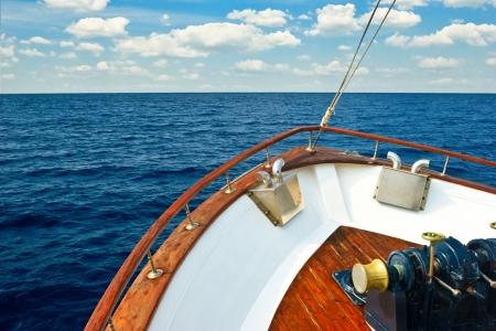 bow of boat: Bow of Pleasure boat sailing the Aegean sea Stock Photo