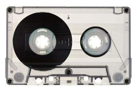 Vintage Transparent Compact Cassette on white background photo
