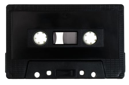 Vintage black Compact Cassette on white background Stock Photo - 5377223