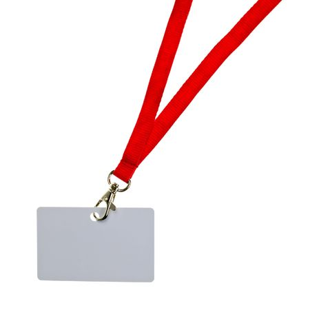 Blank badge with red neckband on white background Stock Photo - 5432174