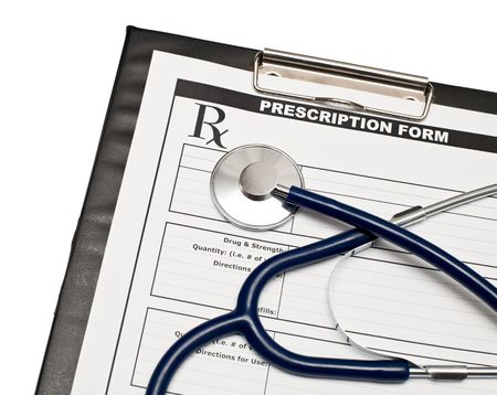 Blank prescription form on clipboard  with stethoscope Stock Photo - 5865888