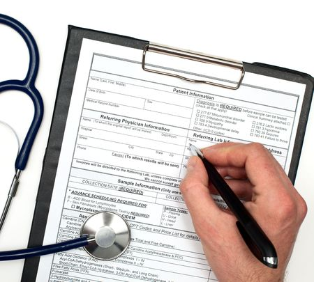 Hand with pen over blank Patient information and stethoscope on white background Stock Photo - 5882664