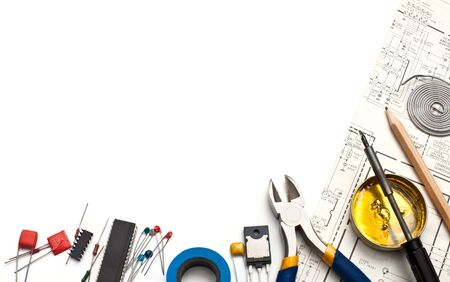 Set of electronic tools components and scheme on white background Stock Photo - 5920496