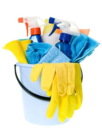 cleaning background: Plastic bucket with cleaning supplies on white background