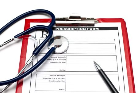 Blank prescription form on clipboard  with stethoscope and pen Stock Photo - 6089772
