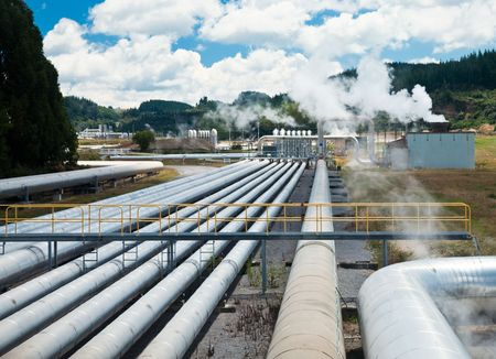 powerhouse: Pipes of Wairakei Geothermal Power Station, New Zealand Stock Photo