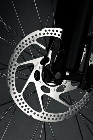 Mountain bike front wheel with mechanical disc brake Stock Photo - 6517250