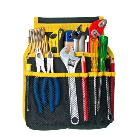Tool belt with assorted tools on white background Stock Photo - 6643638