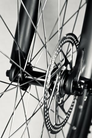Mountain bike front wheel with mechanical disc brake Stock Photo - 6694559