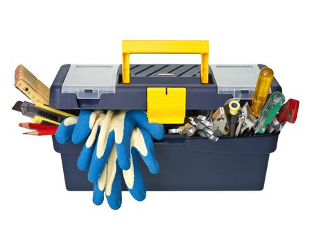 box cutter: Plastic workbox with assorted tools on white background Stock Photo