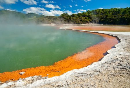 Champagne Pool at Wai-O-Tapu  geothermal area in  New Zealand photo