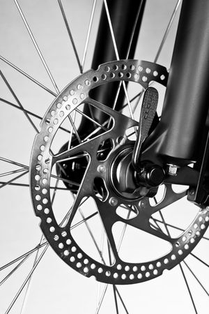 Mountain bike front wheel with mechanical disc brake Stock Photo - 6835854