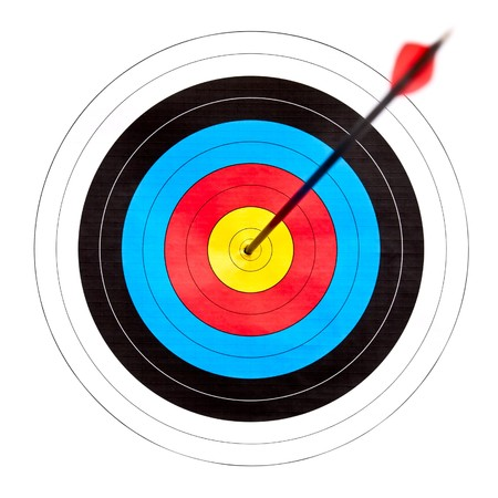 archery target: Archery target with arrow in the bullseye Stock Photo