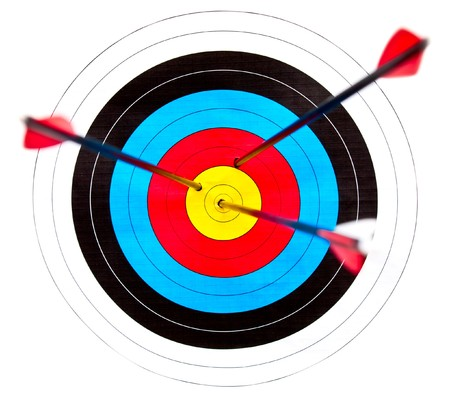 shooting target: Archery target with arrows in the bullseye