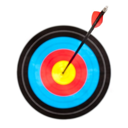 target shooting: Archery target with arrow in the bullseye, focus on arrow fletching