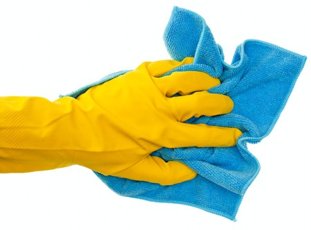 Hand in yellow protective glove with blue duster on white background Stock Photo - 7341638