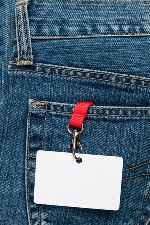 Blue jeans detail with blank badge Stock Photo - 7399776