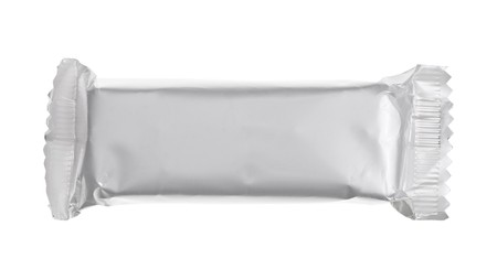 silver bar: Blank chocolate or cereal bar on white background