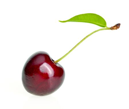 Single sweet cherry on white background