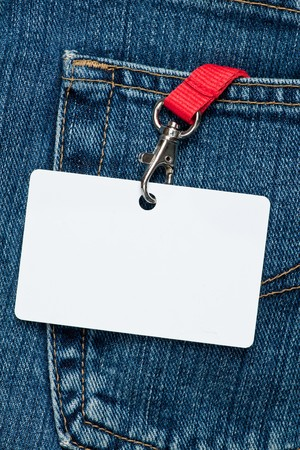 Blue jeans detail with blank badge Stock Photo - 7399810