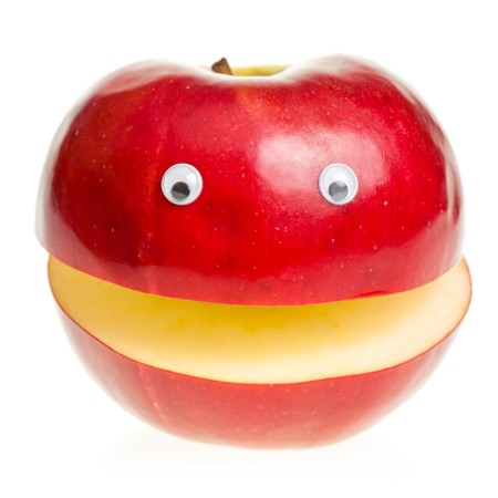 Funny fruit character Red Apple on white background photo