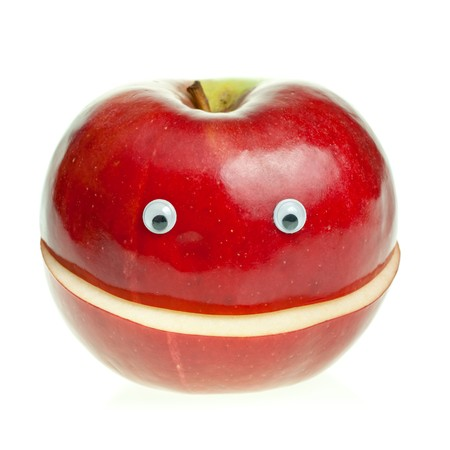 green apple slice: Funny fruit character Red Smiling Apple on white background Stock Photo