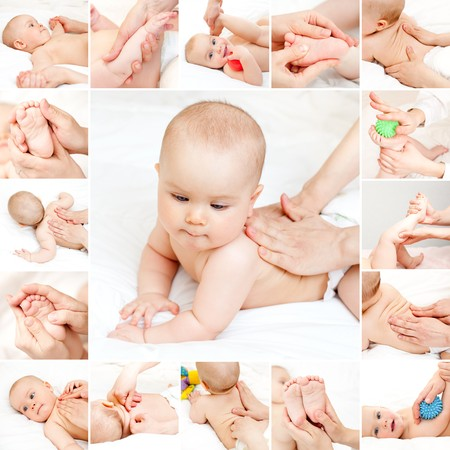 Masseuse massaging little baby girl Stock Photo - 8077601