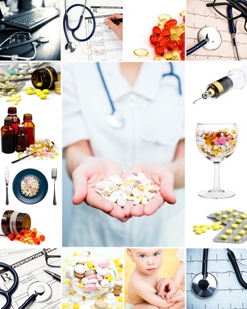 pharmacy equipment: Collection of medical concepts with pills stethoscope syringe etc