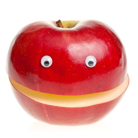 Funny fruit character Red Smiling Apple on white background Stock Photo