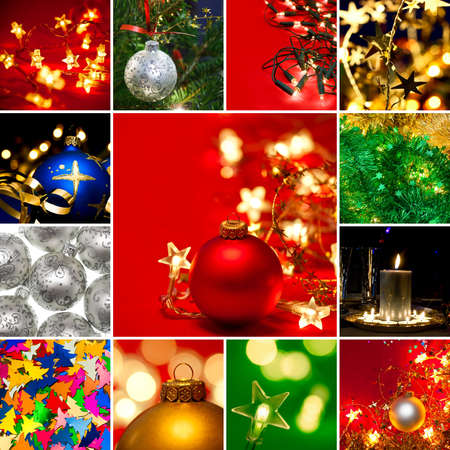 Various Christmas baubles tinsel and lights collection photo