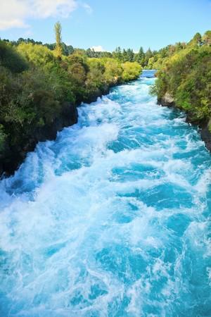 Narrow canyon of Huka  falls on the Waikato River, New Zealand photo