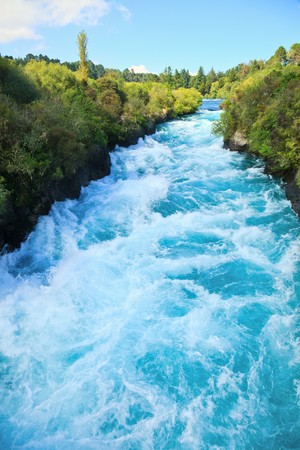 Narrow canyon of Huka  falls on the Waikato River, New Zealand Stock Photo