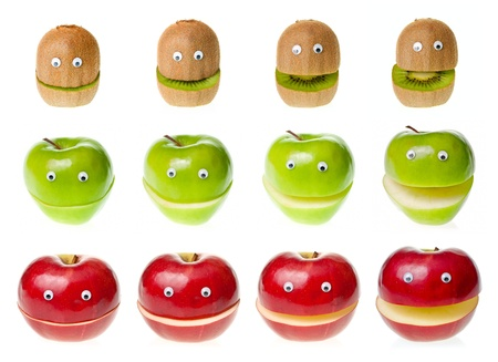 green apples: Funny fruit  characters kiwi and apple on white background