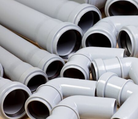 Grey PVC sewer pipes  background Stock Photo - 8466187
