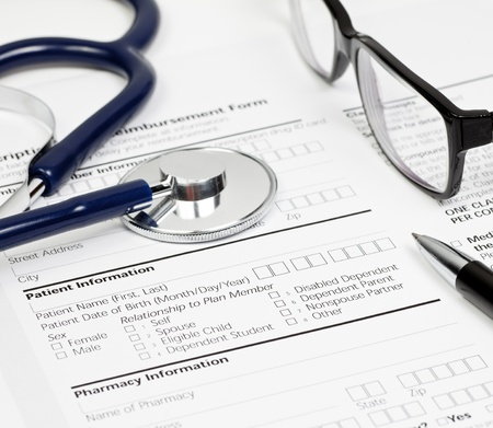 Pen stethoscope and glasses over blank Prescription form with patient and pharmacy information Stock Photo - 8484097