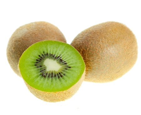 kiwifruit: Fresh Kiwifruits on white background Stock Photo