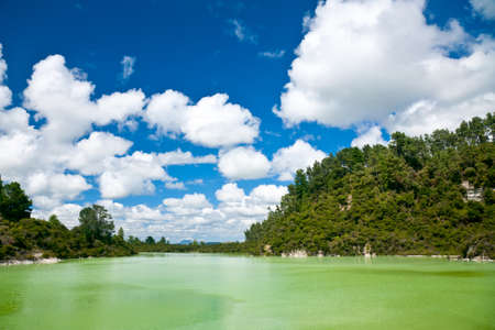 The green water of Lake Ngakoro at Wai-O-Tapu geothermal area in New Zealand Stock Photo - 9106971