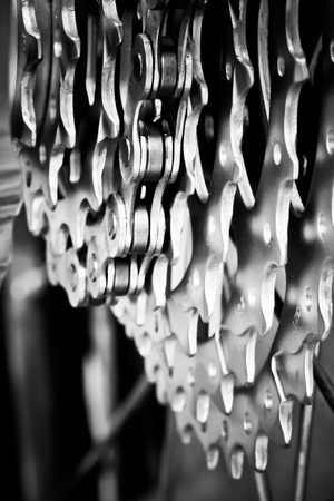 Rear mountain bike cassette with chain close-up, selective focus photo