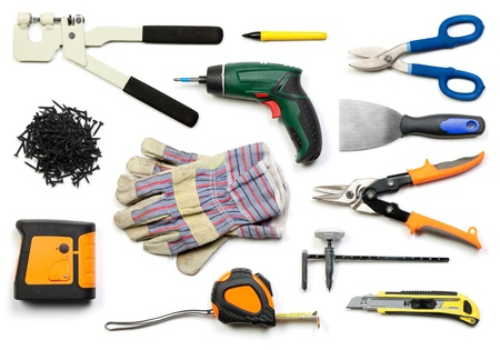 snip: Plasterboard tools set with punch lock crimper, marker pen, tin snip cutter, screws, screw gun, plaster spreader, protective gloves, laser level, tape measure and circle cutter on white background
