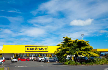 Thames, New Zealand - February 3, 2010: Cars at Pakn Save supermarket parking lot. Pakn Save is a New Zealand discount supermarket chain founded in 1985.