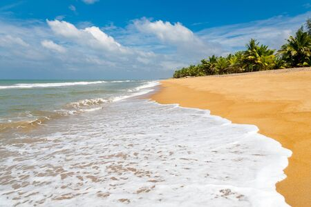 Waves washing up onto an empty beach in Sri Lanka photo