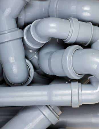Grey PVC sewer pipes  background photo