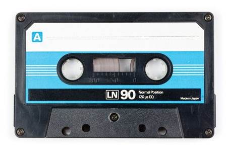 cassette tape: Vintage Compact Cassette on white background Stock Photo