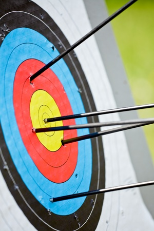 excellent background: Archery target with arrow in the bullseye Stock Photo