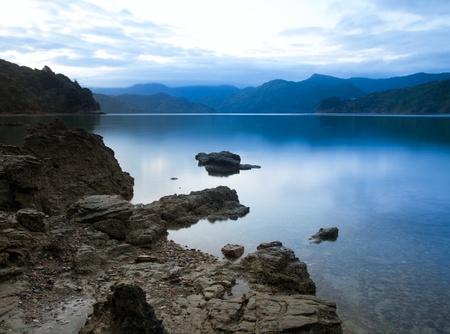 sounds: Dramatic sunset over Marlborough Sounds, New Zealand Stock Photo