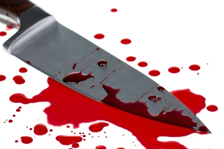 Red blood splatter with  knife photo