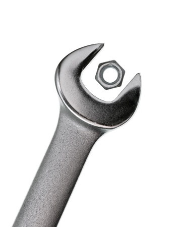 screw key: Wrong wrench for  hex nut on white background
