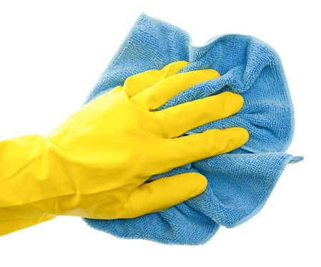 household objects equipment: Hand in yellow protective glove  with blue duster on white background Stock Photo