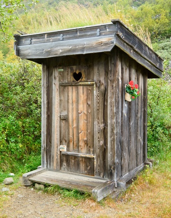 latrine: Old wooden outhouse in Norway