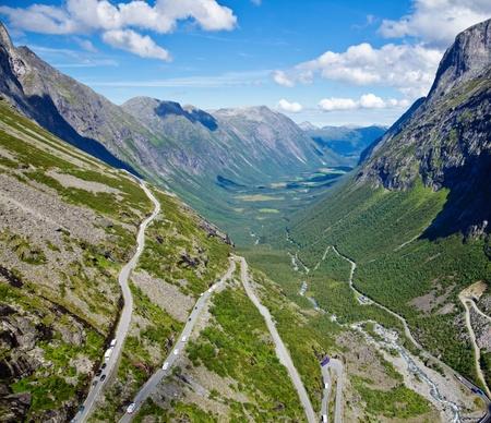 Winding mountain road called Trollstigen (Trolls Ladder) in Norway photo